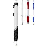 Tlačítkové kuličkové pero s gumovým úchopem, černá náplň, červená