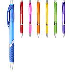 Kuličkové pero s barevnou sponou, modrá náplň, bílá/černá