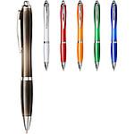 Průsvitné kuličkové pero s pryžovým úchopem, modrá náplň, červená