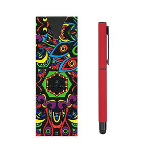 PIERRE CARDIN CELEBRATION Kovový roller se stylusem, červený papírová taška s potiskem