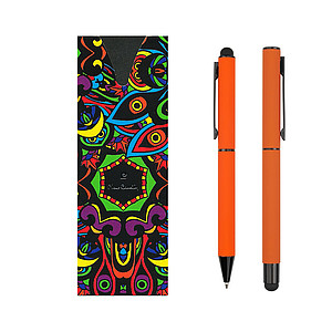 PIERRE CARDIN CELEBRATION Kovová sada KP a rolleru v kapse, oranžová - psací potřeby