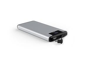 EMILKA Luxusní kovová powerbanka s kabelem a kapacitou 10000 mAh, stříbrná