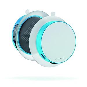 Kulatá solární nabíječka s přísavkou na okno, bílá, modrá