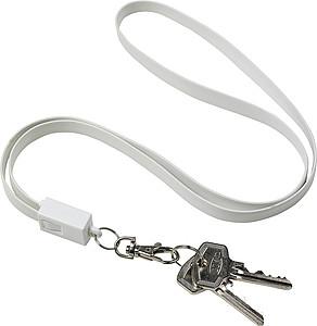 MEDAR Šňůrka na kliče a nabíjecí kabel v jednom, bílá