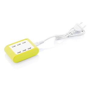 Nabíječka se 6 USB porty a LED indikátory, světle zelená