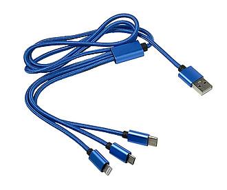 SORIALO Nabíjecí kabel s různými koncovkami. Kobaltově modrá.