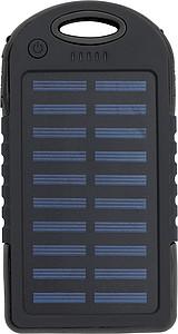 Pogumovaná solární powerbanka, 4000mAh, černá
