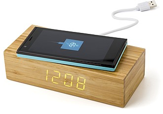 Bezdrátová nabíječka s hodinami, bambusový povrch