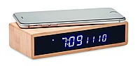Nabíječka pro bezdrátové nabíjení, součástí jsou hodiny s teploměrem