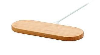 Bezdrátová nabíječka pro dvě zařízení, bambusový povrch