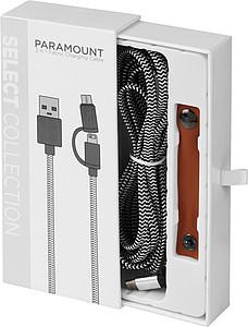 Látkový nabíjecí kabel 3v1, černá/bílá