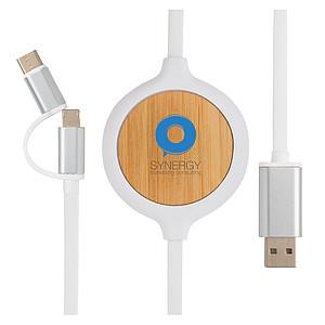 Kabel 3 v 1 s bambusovou bezdrátovou nabíječkou 5W, bílá