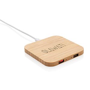 Bambusová bezdrátová nabíječka 5W s USB porty, hnědá