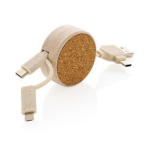 Svinovací kabel 6 v 1 z korku a pšenice, hnědá