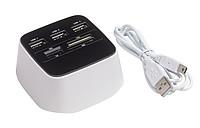 Čtečka karet, bílo černá s USB kabelem