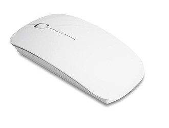 Bezdrátová optická myš z lesklého plastu, bílá
