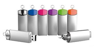 MAJKA, Luxusní kovový USB 2.0 flash disk, 16 GB, stříbrná s transparetním otáčecím prvkem