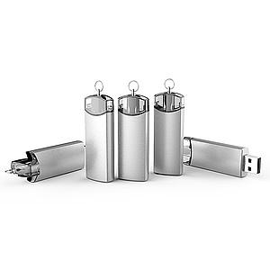 MAJKA, Luxusní kovový USB 2.0 flash disk, 16 GB, stříbrná s transparetním MODRÝM otáčecím prvkem