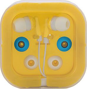 PEPA Sluchátka s náhradními gumičkami ve žluté plastové krabičce