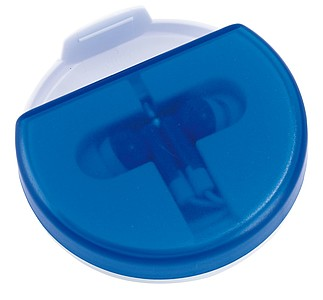 Sluchátka v krabičce se stojánkem na mobil, modré