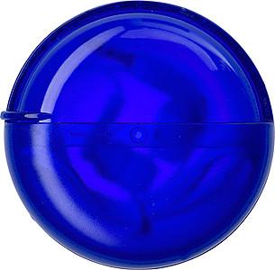 Sluchátka v modré transparentní plastové kulaté krabičce