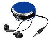 Sluchátka do uší v barevném pouzdře, modrá, stříbrná