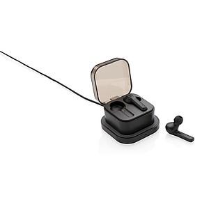TWS sluchátka do uší v bezdrátově nabíjecí krabičce, černá