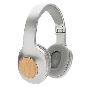 Bambusová bezdrátová sluchátka Dacota, stříbrná