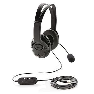 Kancelářský headset s mikrofonem, černá