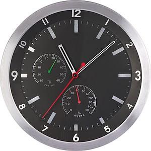 Nástěnné hodiny s teplo a vlhkoměrem, černé
