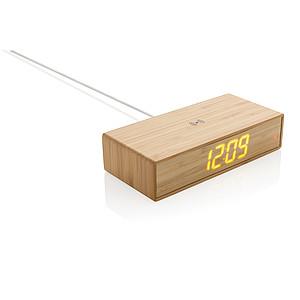 Bambusové digitální hodiny s bezdrátovou nabíječkou 5W, hnědá reklamní hodiny s potiskem