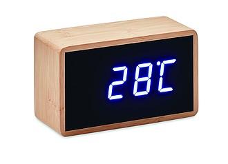 Budík s teploměrem, bambusový povrch reklamní hodiny s potiskem