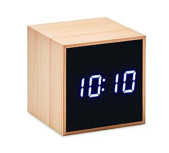 Budík s ukazatelem teploty, bambusový povrch reklamní hodiny s potiskem