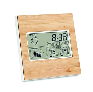 Meteostanice s bambusovým povrchem reklamní hodiny s potiskem