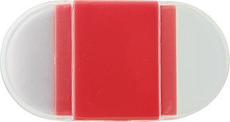 Plastové ořezávátko na tužky, s gumou, červené - reklamní kancelářské potřeby