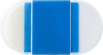 Plastové ořezávátko na tužky, s gumou, modré - reklamní kancelářské potřeby