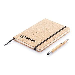 Eko zápisník s obalem z korku včetně bambusového pera se stylusem