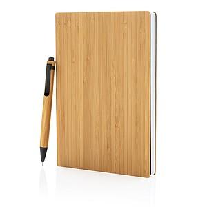 POTENIO Bambusový set poznámkového bloku A5 a pera, středně hnědá - reklamní kancelářské potřeby