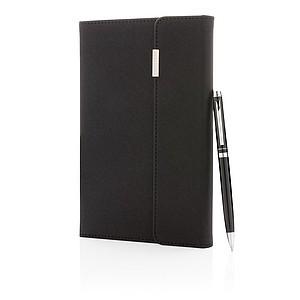POZULI Set obalu na zápisník a pera, černá - reklamní kancelářské potřeby