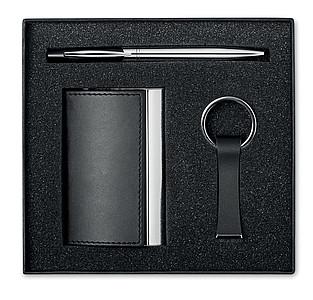 KADEU Dárkový set vizitkáře, kuličkového pera a přívěšku na klíče