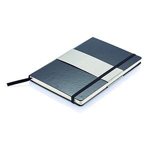 Zápisník čtverečkovaný, se záložkou, gumičkou a tvrdými deskami, A5, černý