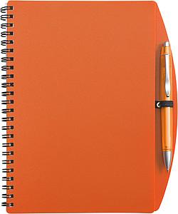 LIBERO A5 Linkovaný blok s kuličkovým perem, obal oranžový - reklamní bloky