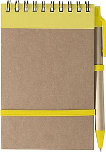 KARIOL Linkovaný blok, 70 stran, s KP, modrá náplň, a gumička, žlutý