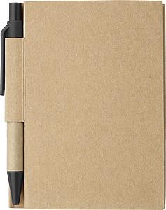 Malý linkovaný zápisník s KP s černou náplní a černými detaily - reklamní bloky