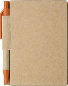 Malý linkovaný zápisník s KP s černou náplní a oranž. detaily - reklamní bloky