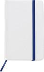 MISTA Zápisník A6 linkovaný, bílé desky, modrá gumička a záložka