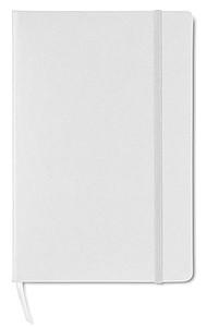 Zápisník se čtverečkovaným papírem, gumička, bílá