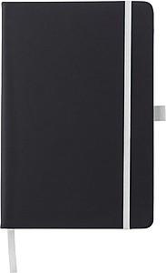 BARTAMUR Zápisník A5, 96 linkovaných stran, černý s bílou gumičkou a očkem