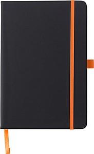 BARTAMUR Zápisník A5, 96 linkovaných stran, černý s oranžovou gumičkou a očkem - reklamní kancelářské potřeby