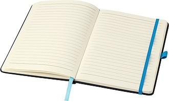 BARTAMUR Zápisník A5, 96 linkovaných stran, černý s oranžovou gumičkou a očkem